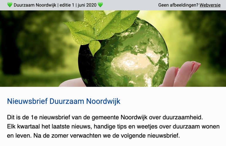 Gemeente Noordwijk start met de Nieuwsbrief Duurzaam Noordwijk